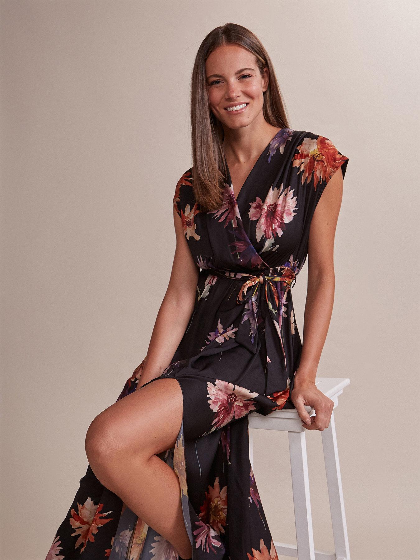 buy online beac9 63e45 Vestito lungo con spacco fantasia floreale - Oltre.com