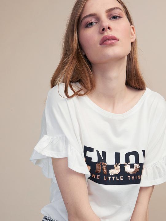 51ca14b616 Oltre: T-shirt con stampa e paillettes Bianco_1 ...