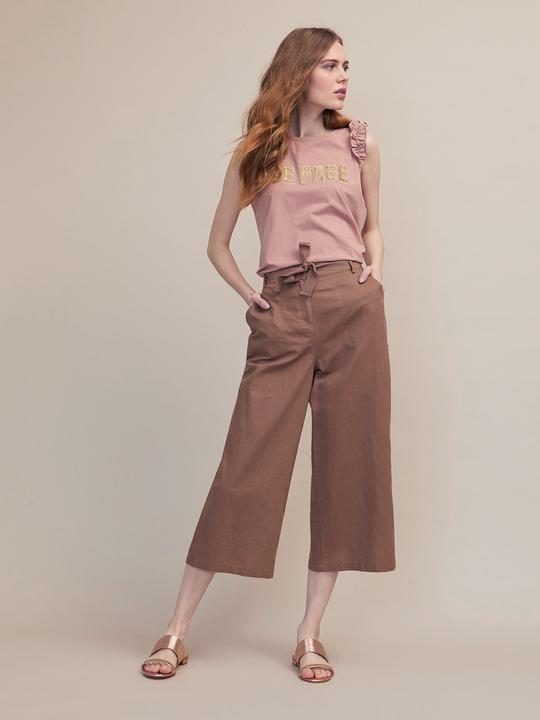 8780a496d3e0 Oltre: Pantaloni cropped in lino cotone Marrone_1 ...